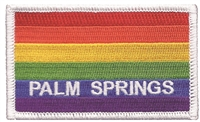 PALM SPRINGS rainbow flag with white border souvenir embroidered patch