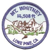 "MT.WHITNEY 14,508 ft LONE PINE, CA - souvenir embroidered patch. 2.5"". Iron-on backing. Patches are carded for a retail display rack for a retail store."