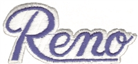 5002-11/39 - Reno script  royal blue on white souvenir embroidered patch