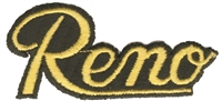 5002-21/01 - Reno script gold on black souvenir embroidered patch