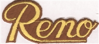 5002-21/17 - Reno script gold on brown souvenir embroidered patch
