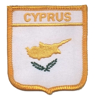 5981 - CYPRUS medium flag shield souvenir embroidered patch