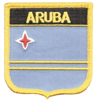 6031 - ARUBA medium flag shield souvenir embroidered patch