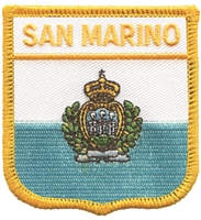 SAN MARINO medium flag shield souvenir embroidered patch