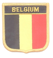 6081 - BELGIUM medium flag shield souvenir embroidered patch