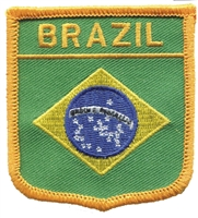 BRAZIL medium flag shield souvenir embroidered patch