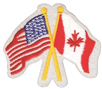 Canada crossed USA flags souvenir embroidered patch