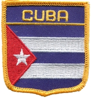 6161 - CUBA medium flag shield souvenir embroidered patch