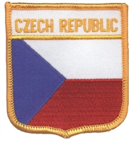6171 - CZECH REPUBLIC medium flag shield souvenir embroidered patch