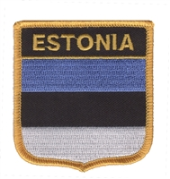 6196 - ESTONIA medium flag shield souvenir embroidered patch
