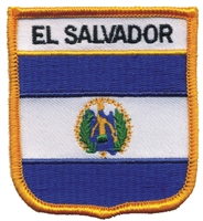 6211 - EL SALVADOR medium flag shield souvenir embroidered patch