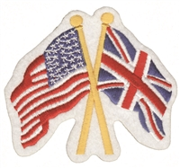Great Britain & US flags crossed souvenir embroidered patch. England aka Union Jack aka United Kingdom aka UK flag