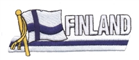 6256 - FINLAND wavy flag ribbon souvenir embroidered patch