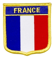 FRANCE medium flag shield souvenir embroidered patch