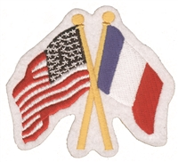France & US flags crossed souvenir embroidered patch