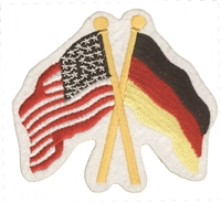 Germany & US flags crossed souvenir embroidered patch