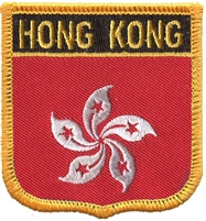 HONG KONG medium flag shield souvenir embroidered patch