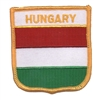 6351 - HUNGARY medium flag shield souvenir embroidered patch
