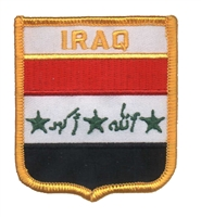 6391 - IRAQ medium flag shield souvenir embroidered patch
