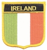 "6401 - IRELAND flag shield embroidered patch for souvenir or uniform. 2.5"" wide x 2.75"" tall. It has an iron-on backing & is carded for retail display for stores."