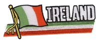 6406 - IRELAND wavy flag ribbon souvenir embroidered patch