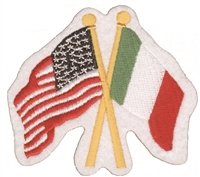 6425 - Italy & US crossed flags souvenir embroidered patch