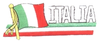 6426 - ITALIA wavy flag ribbon souvenir embroidered patch