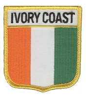 6436 - IVORY COAST medium flag shield souvenir embroidered patch