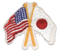 6445 - Japan crossed USA flags souvenir embroidered patch