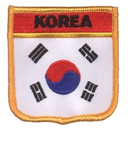 6461 - KOREA medium flag shield souvenir embroidered patch