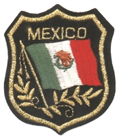 6492 - MEXICO mylar flag shield uniform or souvenir embroidered patch