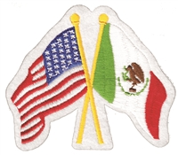 6495 - Mexico crossed USA flags souvenir embroidered patch