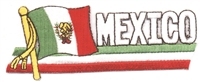 6496 - MEXICO wavy flag ribbon souvenir embroidered patch
