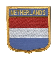 6511 - NETHERLANDS medium flag shield souvenir embroidered patch