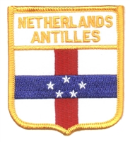 6513 - NETHERLANDS ANTILLES medium flag shield souvenir embroidered patch