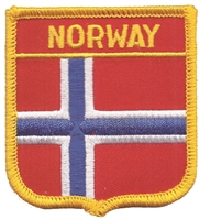 6541 - NORWAY medium flag shield souvenir embroidered patch