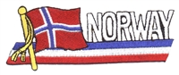 6546 - NORWAY wavy flag ribbon souvenir embroidered patch