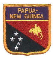 6573 - PAPUA - NEW GUINEA medium flag shield souvenir embroidered patch