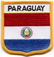 6581 - PARAGUAY medium flag shield souvenir embroidered patch