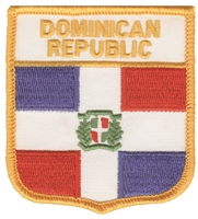 6641 - DOMINICAN REPUBLIC medium flag shield souvenir embroidered patch