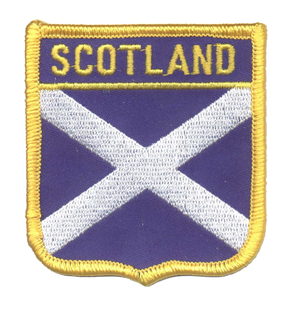 SCOTLAND (St Andrews cross) medium flag shield souvenir embroidered patch