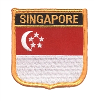 6681 - SINGAPORE medium flag shield souvenir embroidered patch