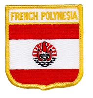 6701 - FRENCH POLYNESIA medium flag shield souvenir embroidered patch