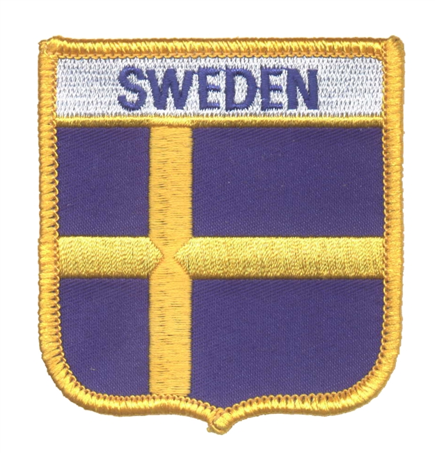 6741 - SWEDEN medium flag shield souvenir embroidered patch