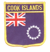 6743 - COOK ISLANDS medium flag shield souvenir embroidered patch