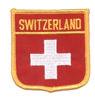 6751 - SWITZERLAND medium flag shield souvenir embroidered patch