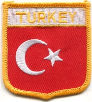 TURKEY medium flag shield souvenir embroidered patch