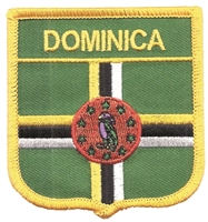 "6803 - DOMINICA medium flag shield - 2.5"" wide x 2.75"" tall - Has an iron-on backing. Patches are carded for a rack display for retailers."
