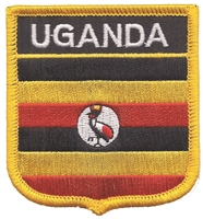 6808 - UGANDA medium flag shield souvenir embroidered patch