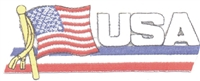 USA wavy flag ribbon souvenir embroidered patch
